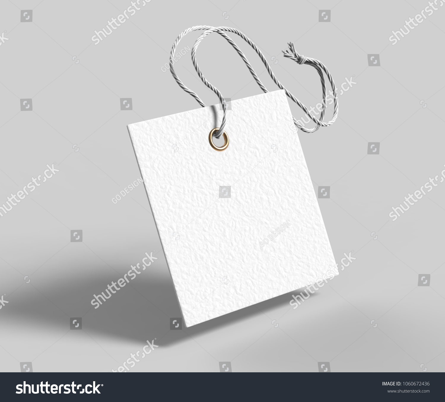 blank square tag tied string priceのイラスト素材 1060672436