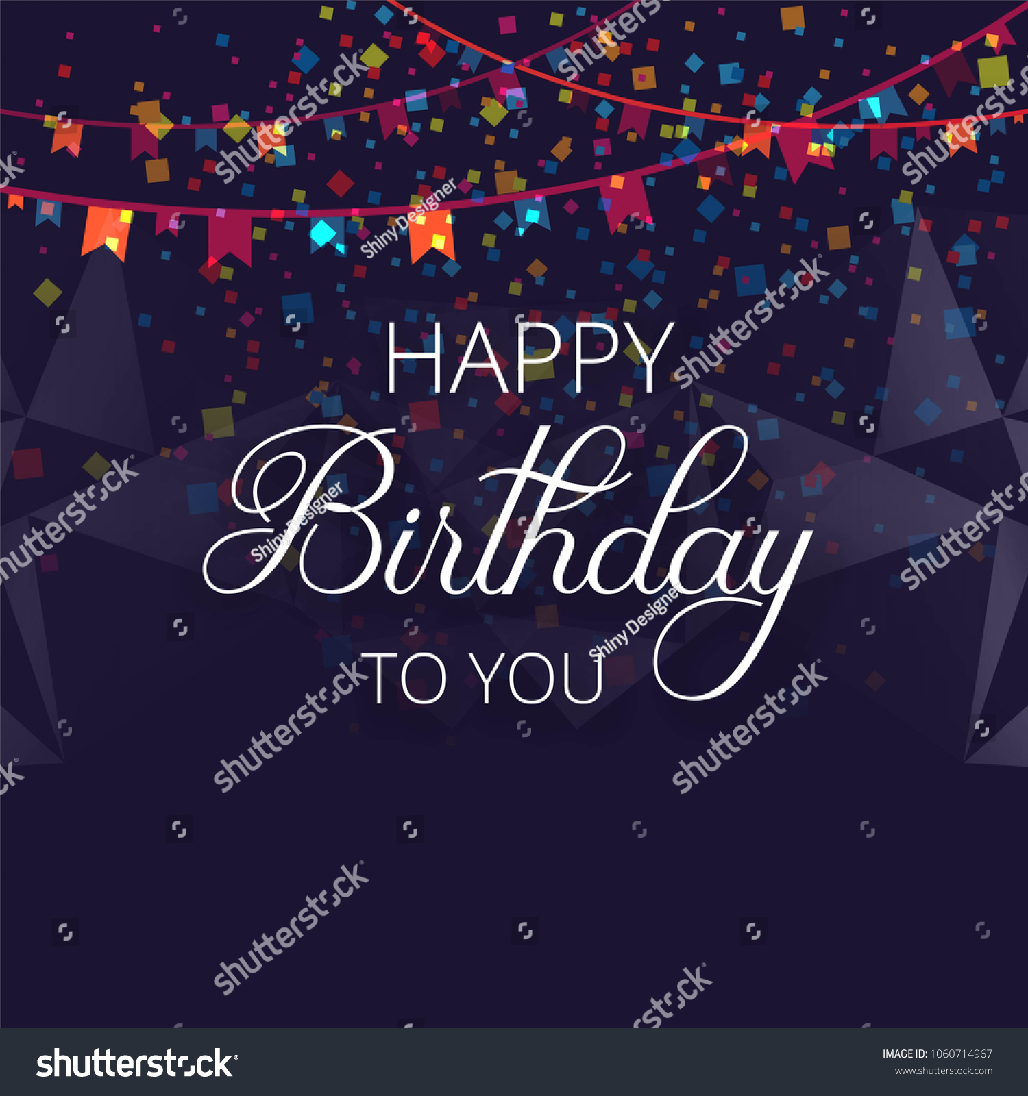 Happy Birthday Colorful Birthday Card Party Stock Vector Royalty
