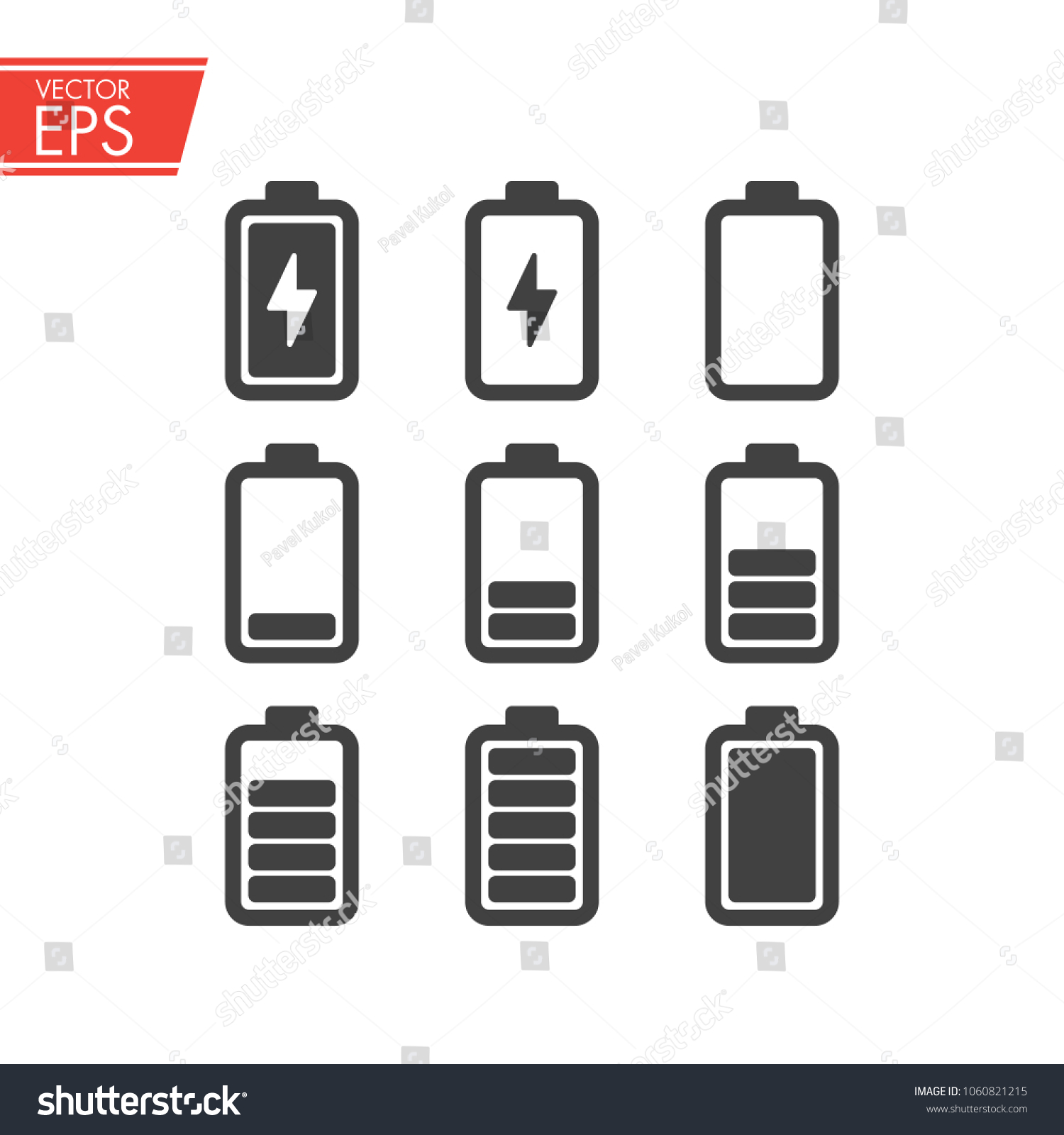 Battery Charging Icons Set Electricity Signs Stock Photo (Photo ...
