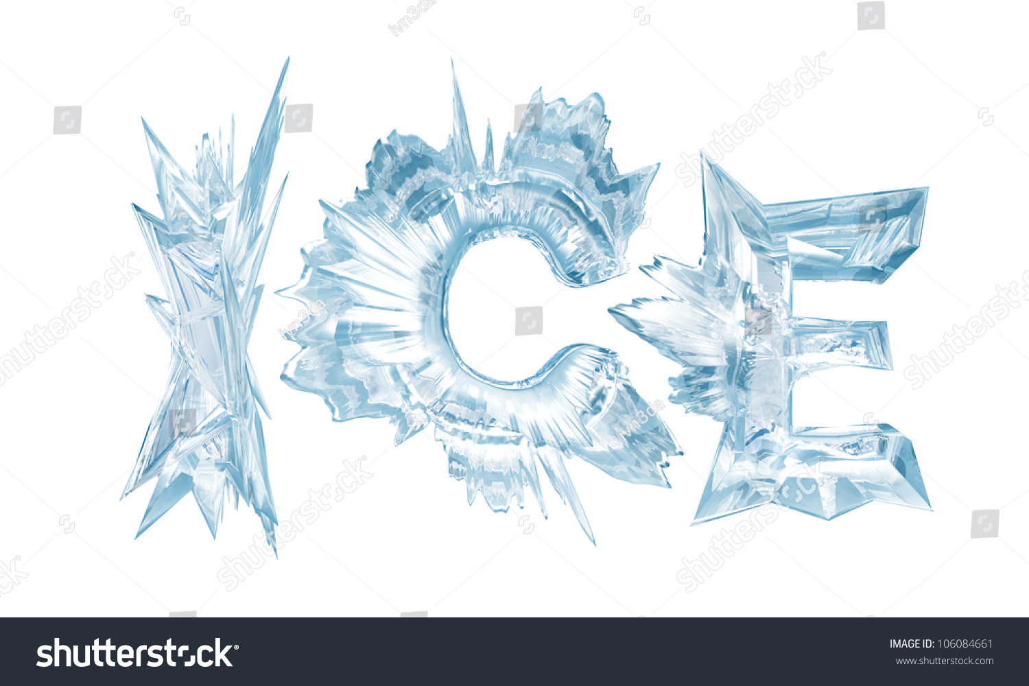 ice crystal letters the word ice