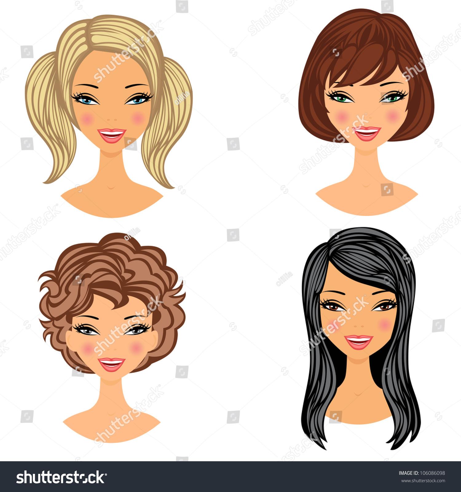 beautiful girls faces set stock vector 106086098 shutterstock