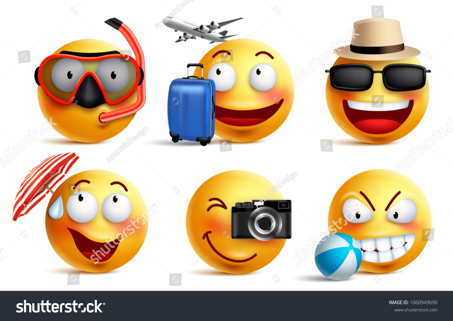 Smileys Vector Set Summer Travel Outfits Stock Vector Royalty Free