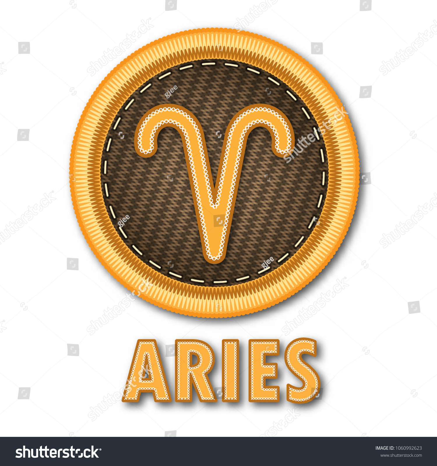 Embroidered patch work aries zodiac sign stock vector 1060992623 embroidered patch work of aries zodiac sign symbol icon for vector graphic design concept idea biocorpaavc Gallery