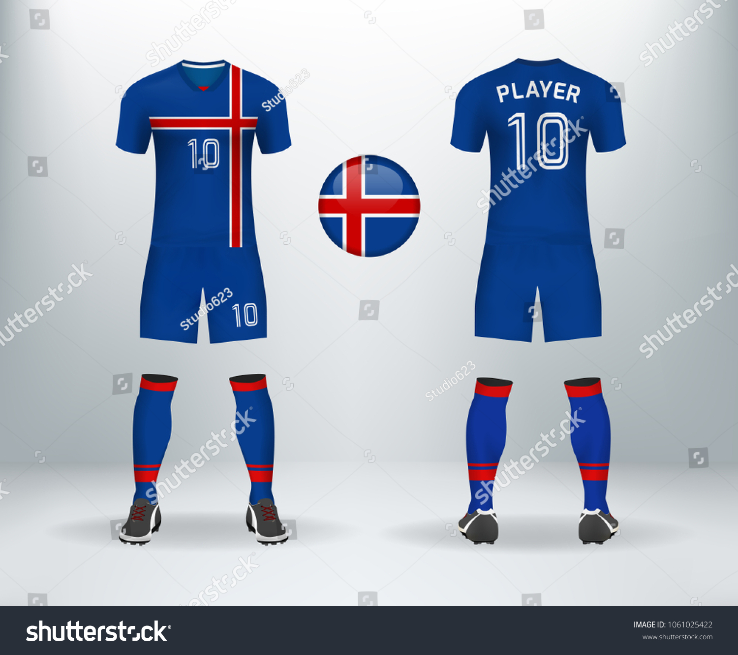 3D realistic of font and back of iceland soccer jersey shirt with pants and  iceland badge logo. Concept for national soccer team uniform or football  apparel ... 18716d074