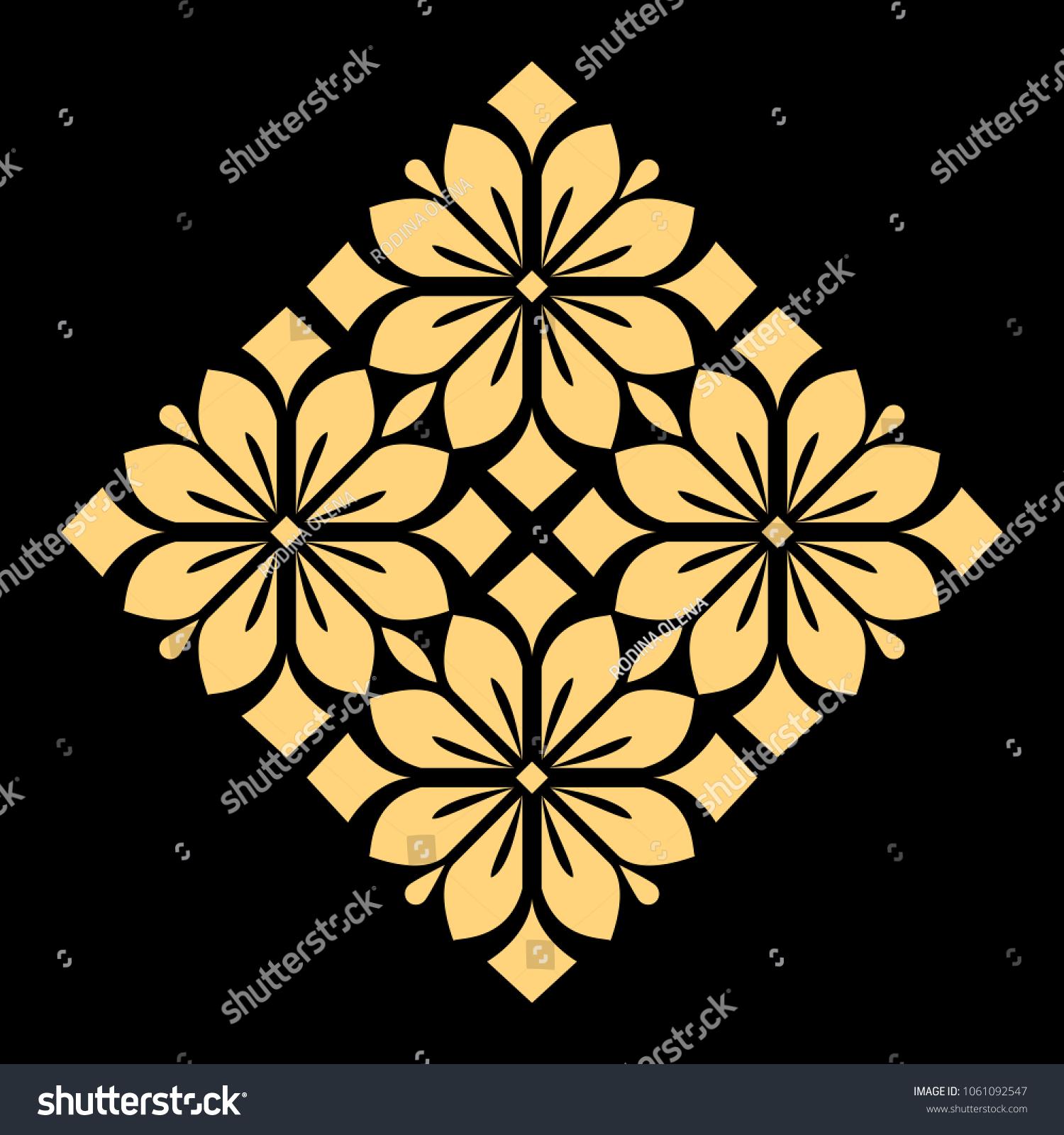 Golden Pattern On Black Background Damask Stock Illustration 1061092547