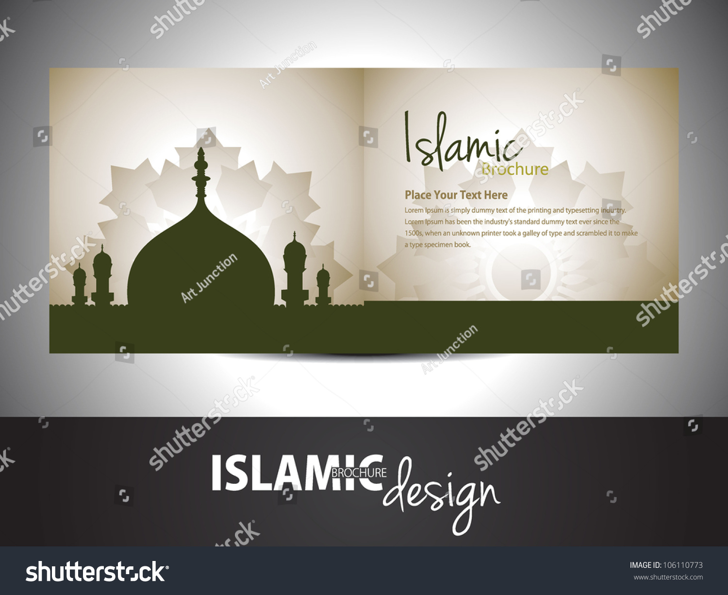 islamic brochure design - islamic brochure and cover design stock vector