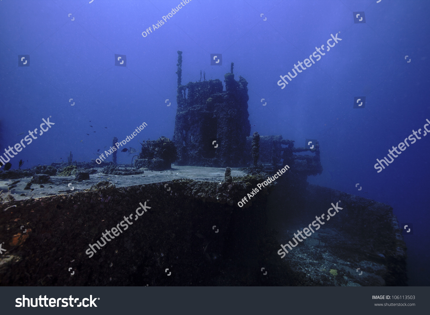 The USCG Duane in Key Largo, Florida. A sunken shipwreck in the John Pennekamp State park. A ship sunk intentionally as an artificial reef. #106113503
