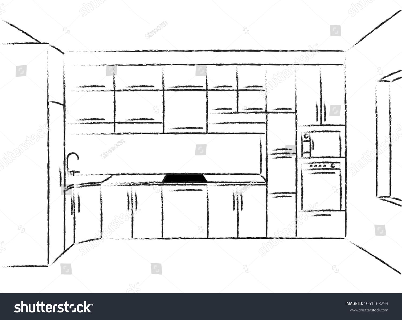 Kitchen Corner Sketch Modern Plan Interior Stock Vector Royalty