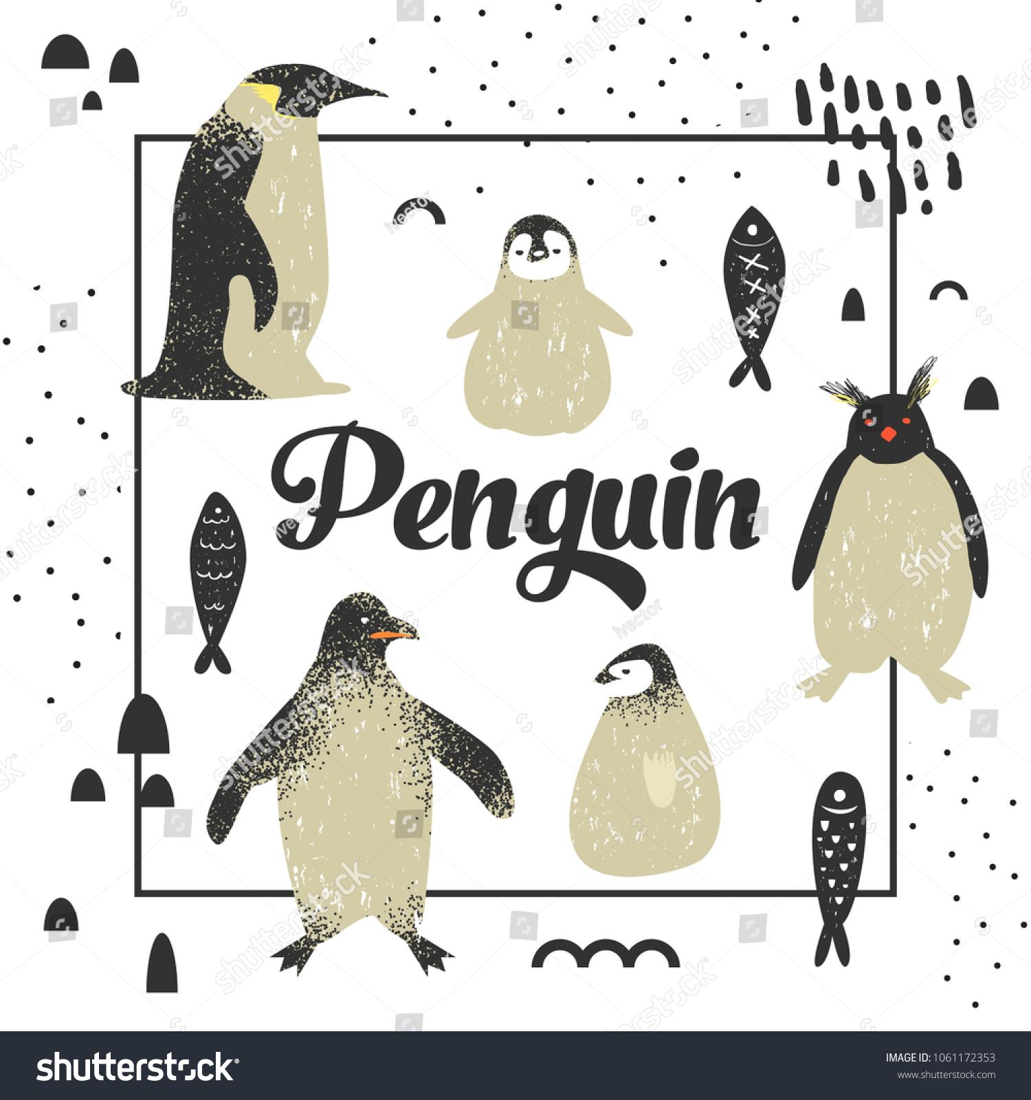 Baby Shower Design Cute Penguins Creative Stock Vector (2018 ...