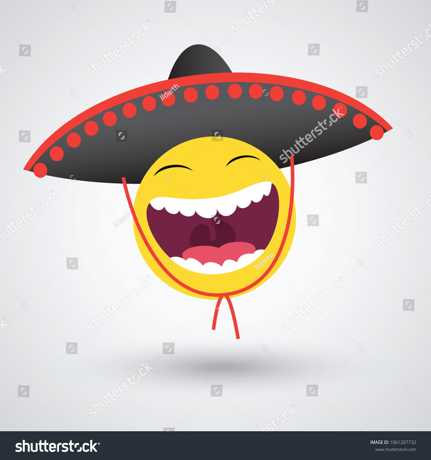 Mexican Smiley Black Sombrero Vector de stock (libre de regalías ... e442faaf048