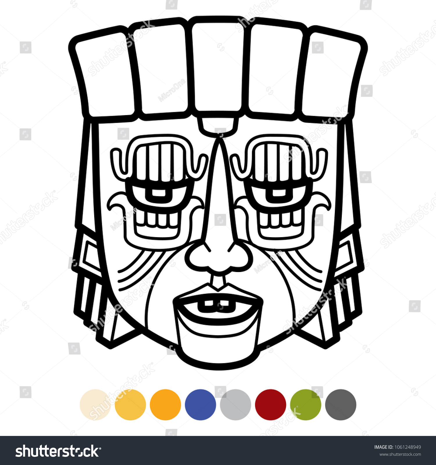 indian aztec african mexican tribal mask stock vector 1061248949