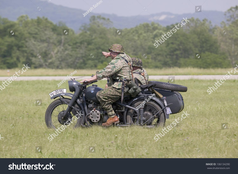 world war ii german soldier on motorcycle at mid atlantic air