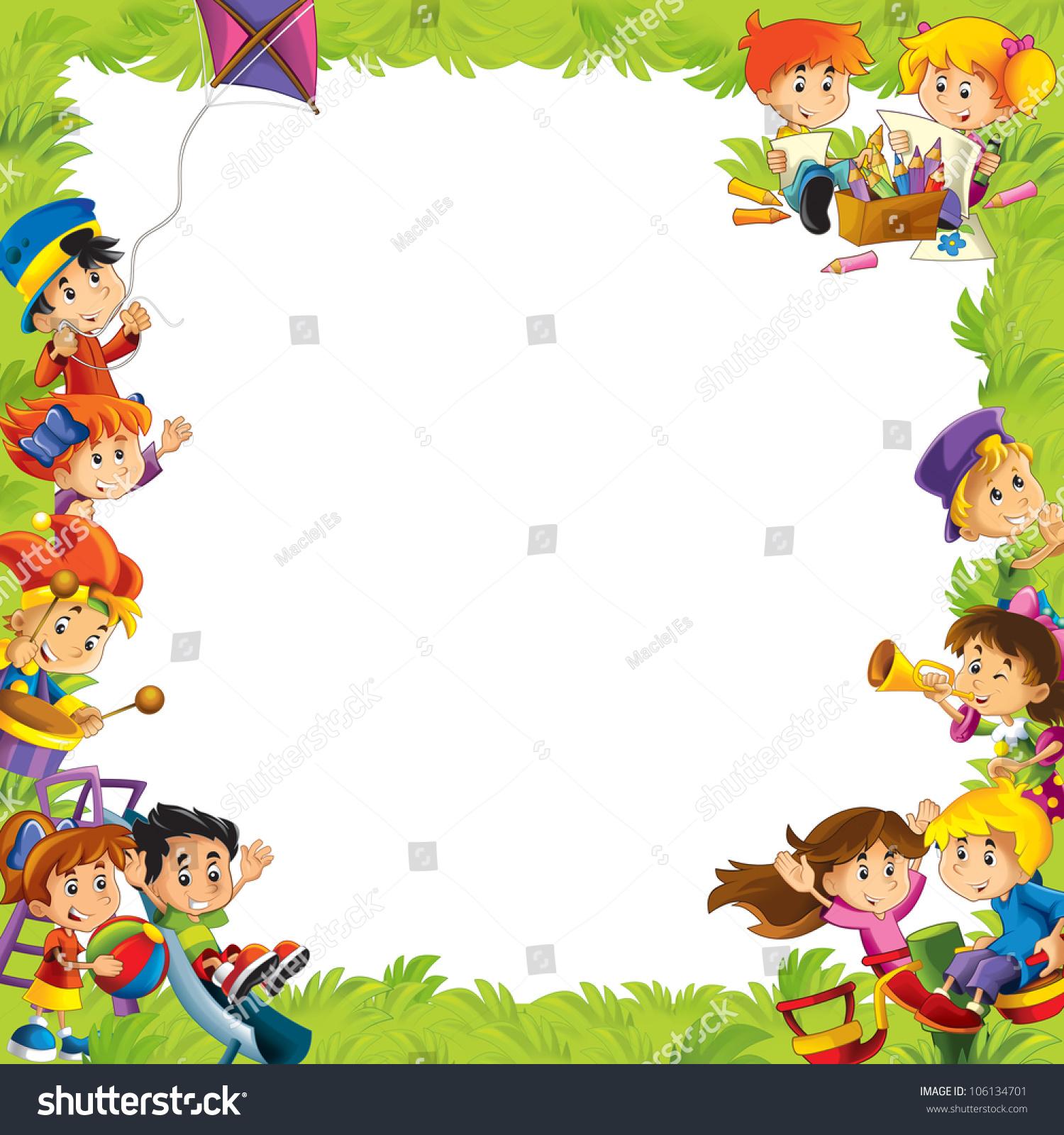 young happy kids kindergarten menu space for text stock foto 106134701 shutterstock. Black Bedroom Furniture Sets. Home Design Ideas
