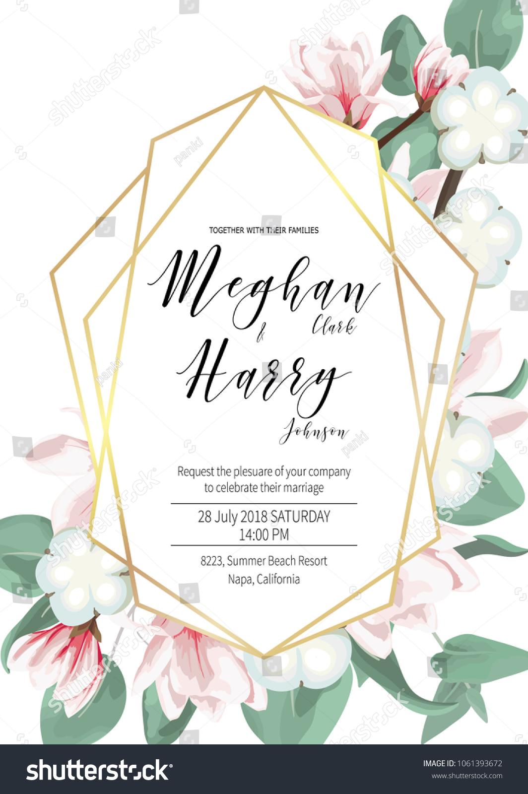Wedding Invitation Card Template Geometric Design Stock Vector