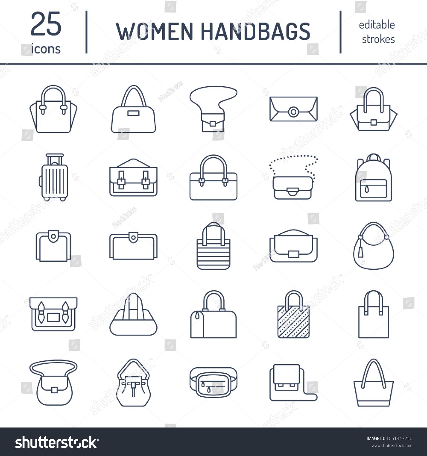 d560f7bac0 Women Handbags Flat Line Icons Bags Stock Vector (Royalty Free ...