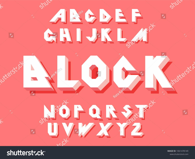 80 S Retro Alphabet Font 3 D Block Stock-Vektorgrafik 1061478149 ...