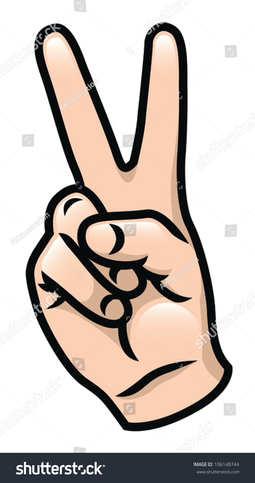 illustration cartoon hand giving peace sign stock vector
