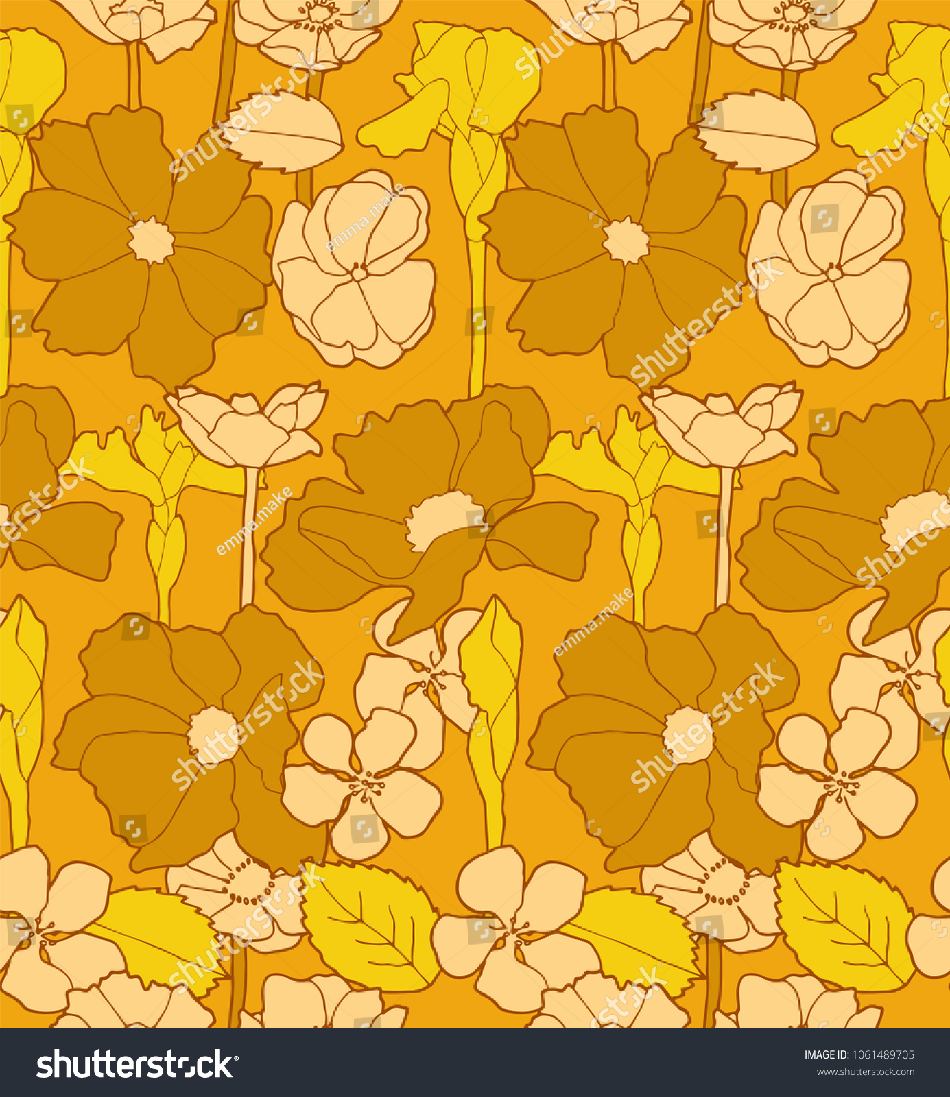 Retro 60s Floral Wallpaper Seamless Stock Illustration 1061489705