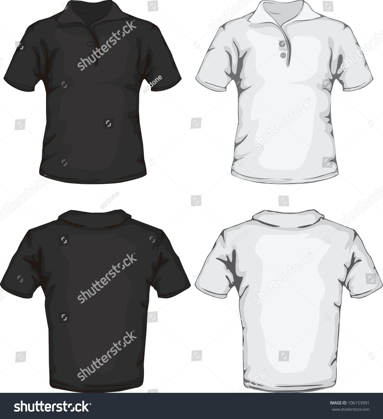 Shirt design illustrator template - Vector Illustration Of Men S Polo Shirt Template In Black And White Front And Back Design