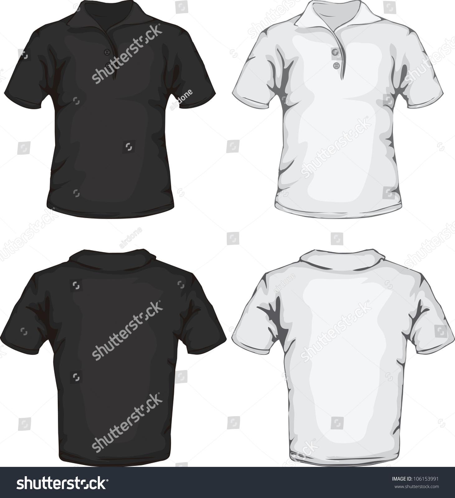 Vector Illustration Of Men'S Polo Shirt Template In Black