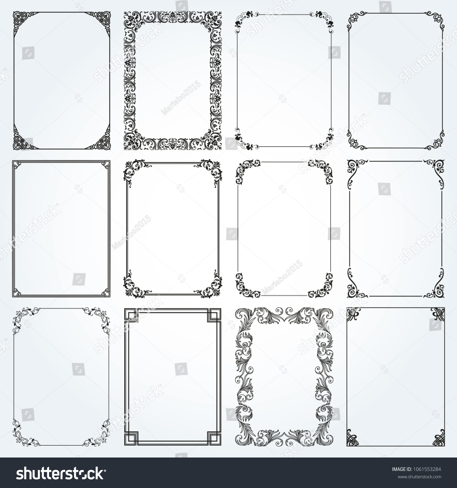 Decorative Frames Borders Standard Rectangle Proportions Stock ...