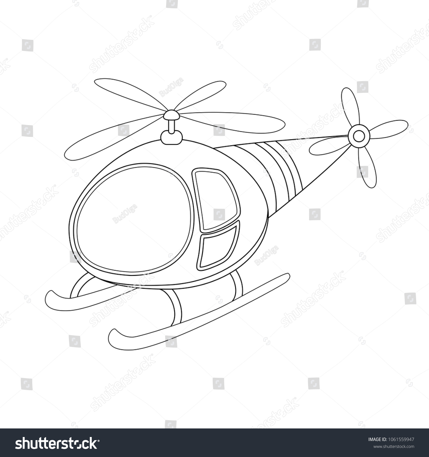 stock vector colorless funny cartoon helicopter vector illustration coloring page preschool education