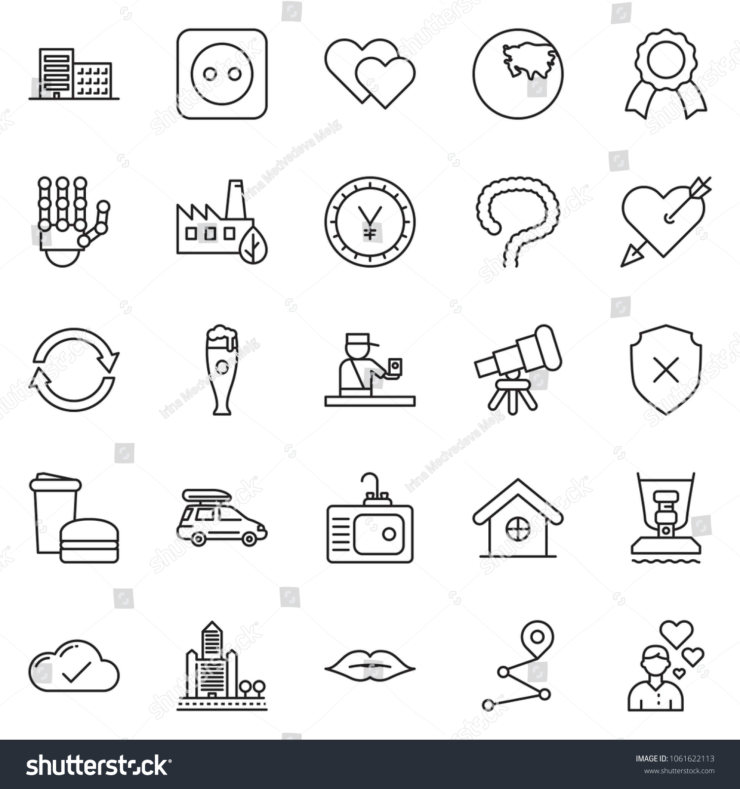 Thin Line Icon Set   Office Building Vector, Yen Sign, Cloud Check, Sink