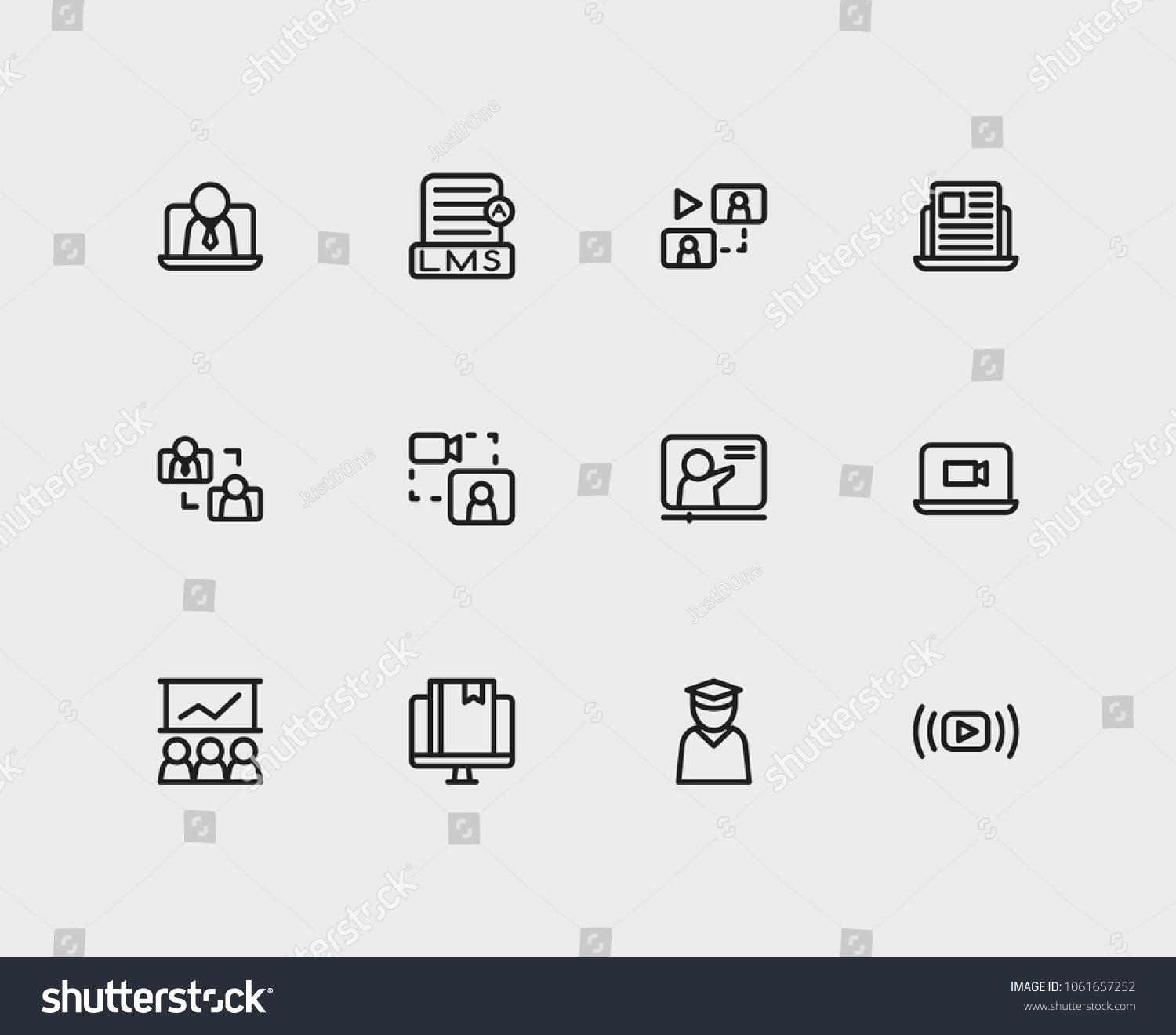 Online Education Icons Set Education Elearning Stock Vector Royalty Free 1061657252