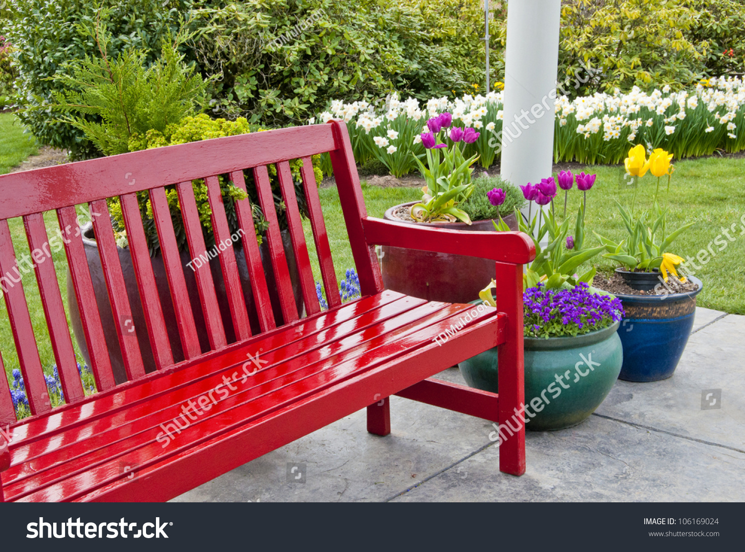 Red Garden Bench On Patio Surrounded Stock Photo 106169024
