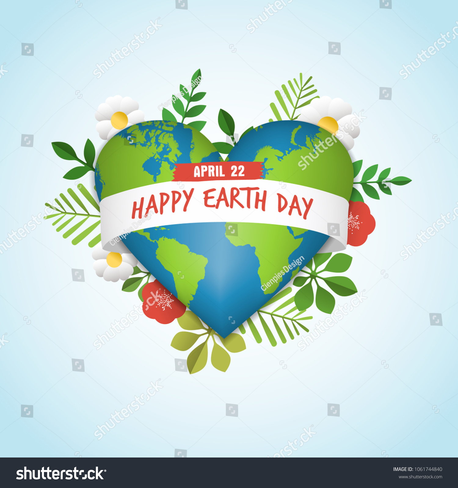 Happy earth day greeting card green stock vector 1061744840 happy earth day greeting card of green planet in heart shape with nature decoration includes kristyandbryce Images