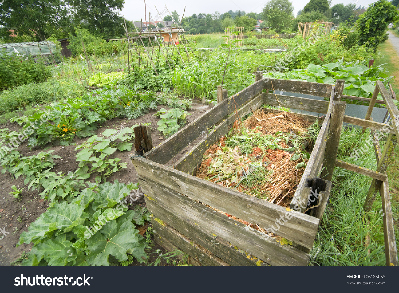 Compost Bin In A Vegetable Garden Stock Photo 106186058