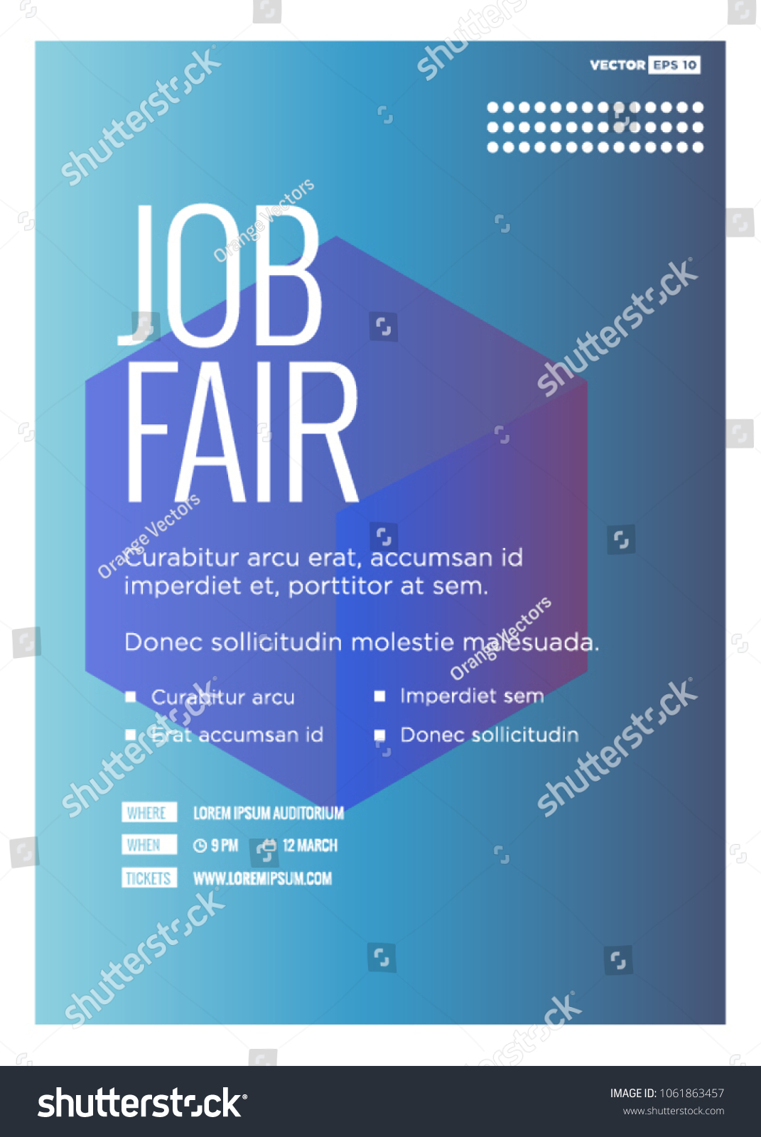 job fair poster template time date stock vector royalty free