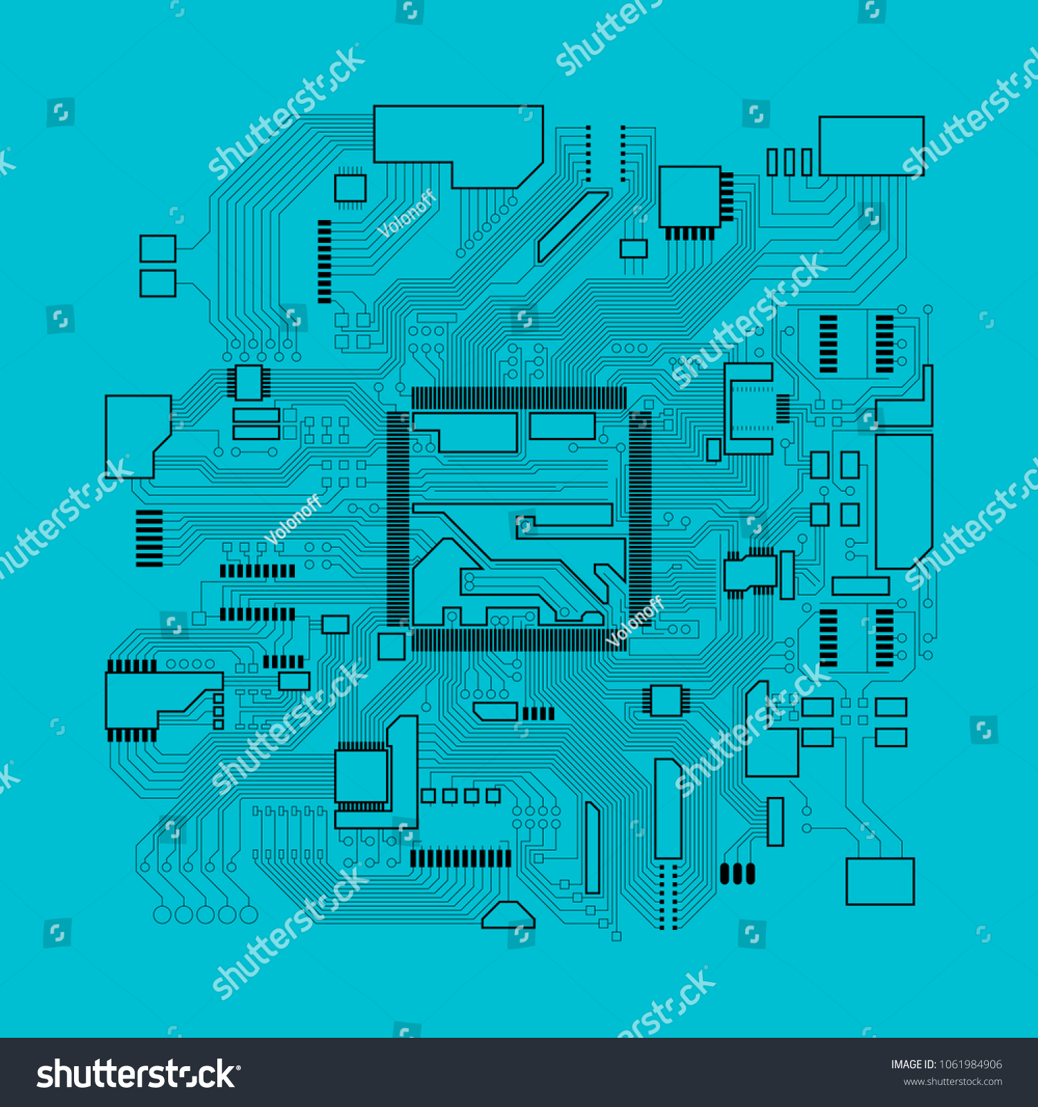 Circuit Board Electronic Computer Hardware Processor Stock Vector Boards With Clock Hands Royalty Free Image Technology Motherboard Digital Chip Tech Science Background