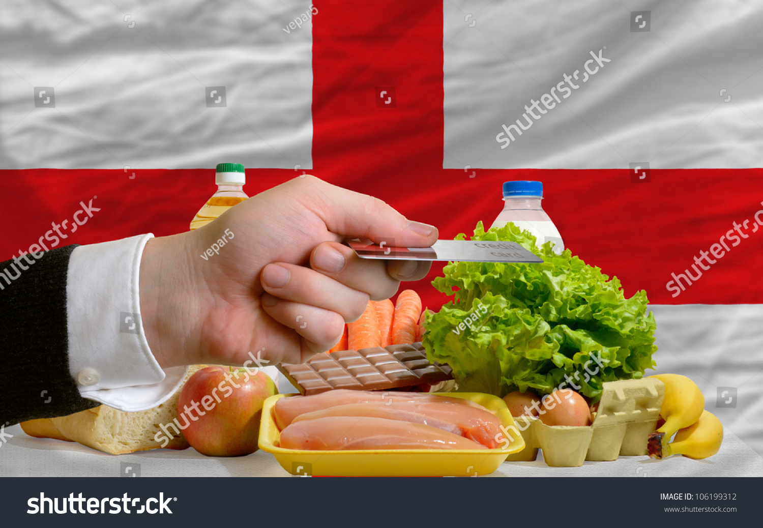 Man Stretching Out Credit Card To Buy Food In Front Ofplete Wavy National  Flag Of Man
