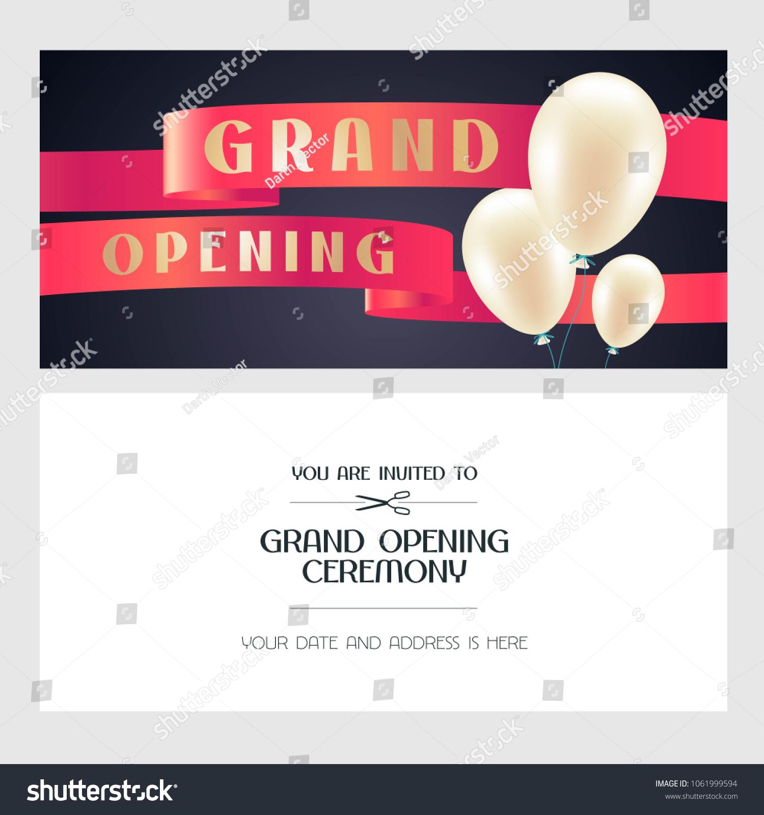 Grand Opening Vector Illustration Invitation Card Stock Vector