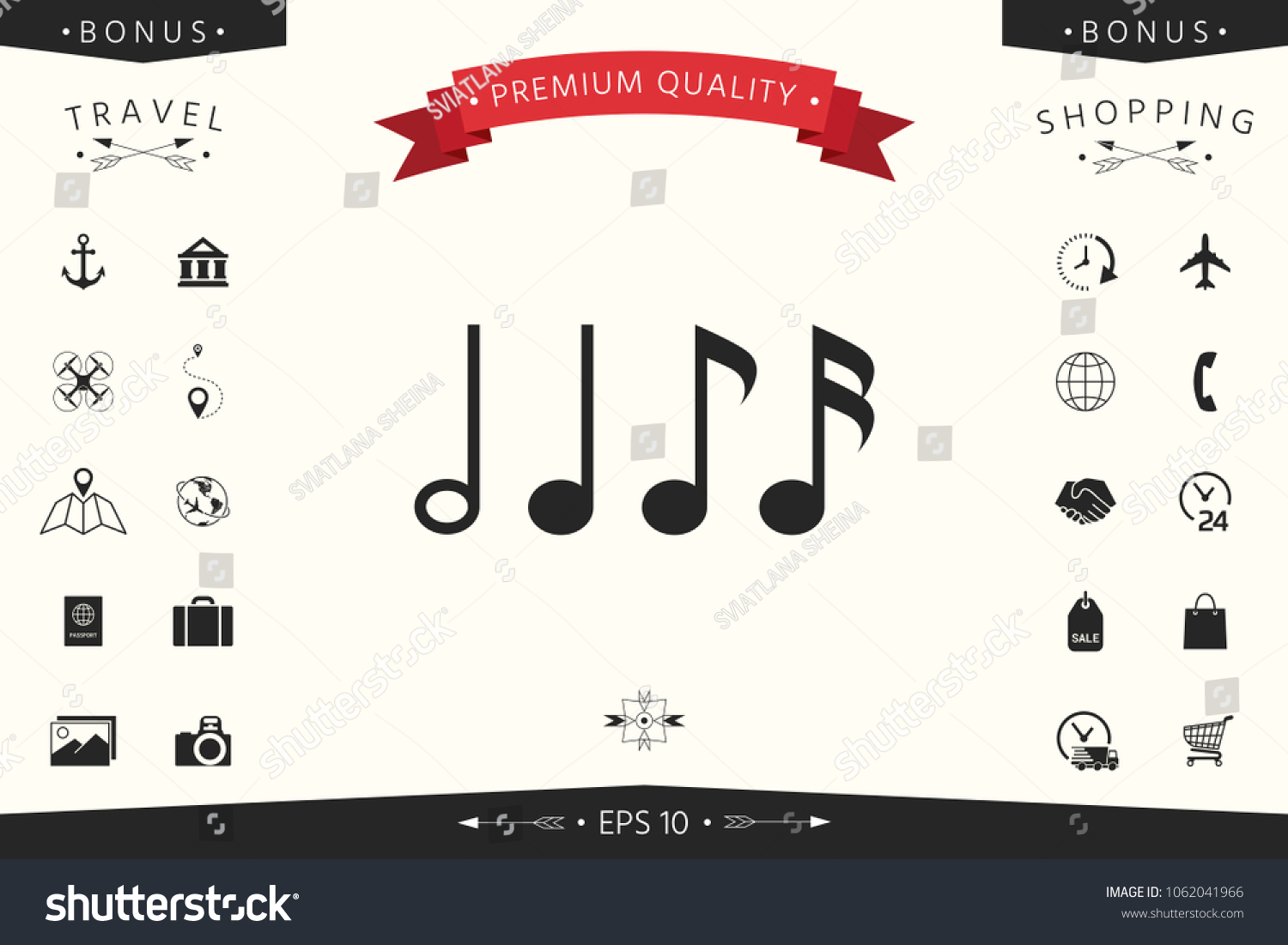 Symbol music notes sixteenth note eighth stock vector 1062041966 symbol of music notes sixteenth note eighth note quarter note and half buycottarizona Image collections