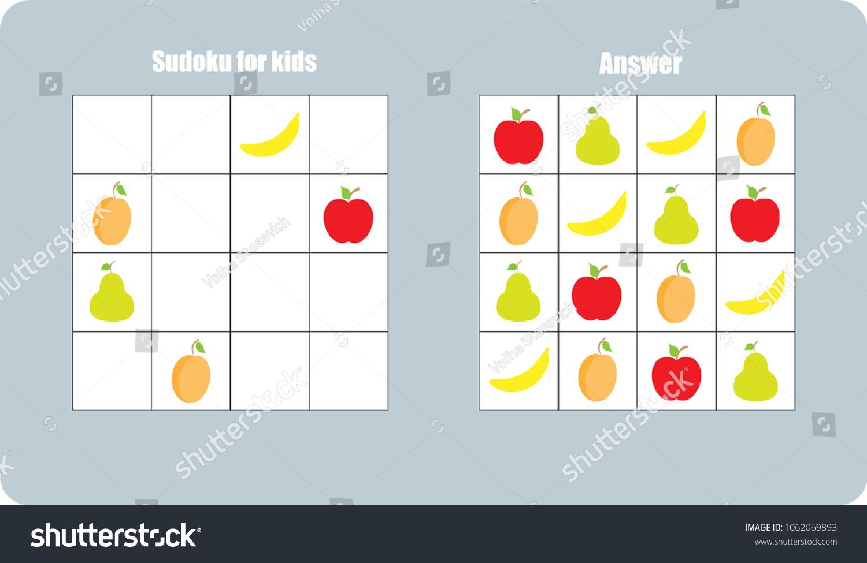Sudoku Game Fruit Apple Banana Pear Stock Vector (Royalty Free ...