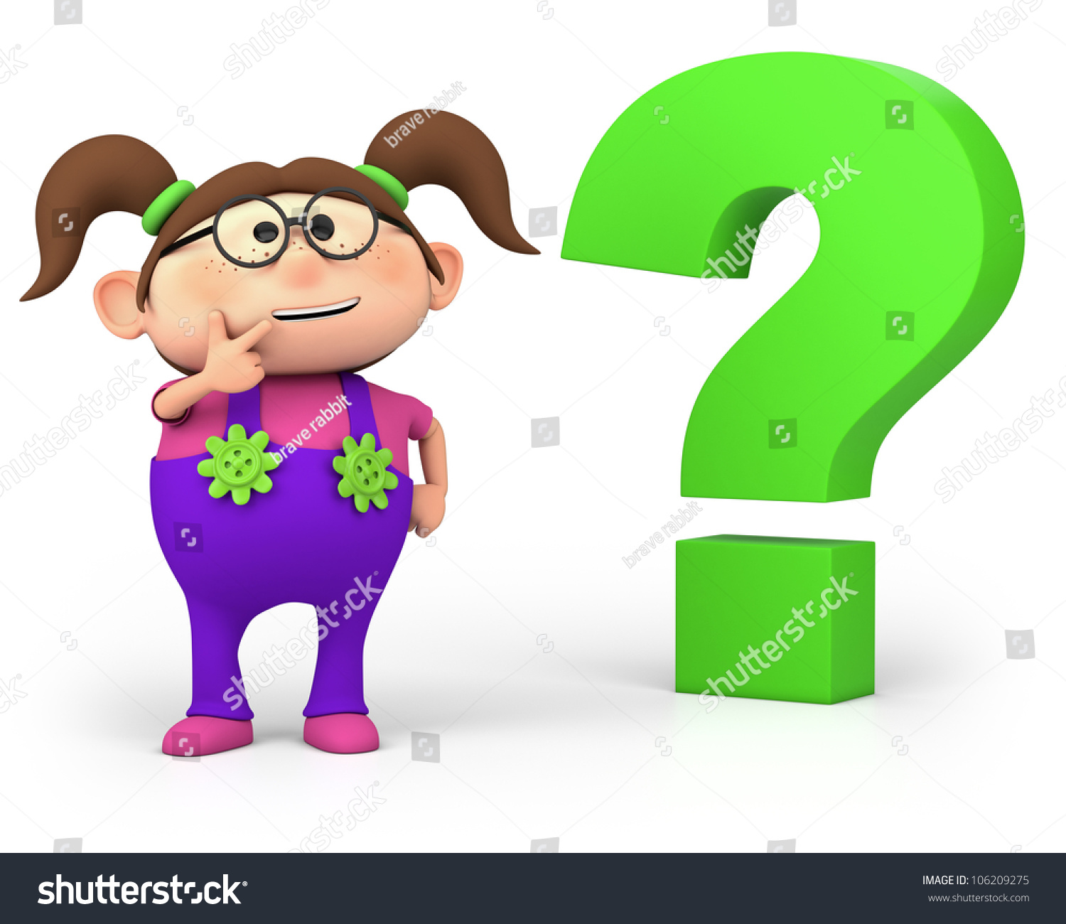 Pics photos clip art cartoon scientist with question mark stock - Cute Little Cartoon Girl With Question Mark High Quality 3d Illustration