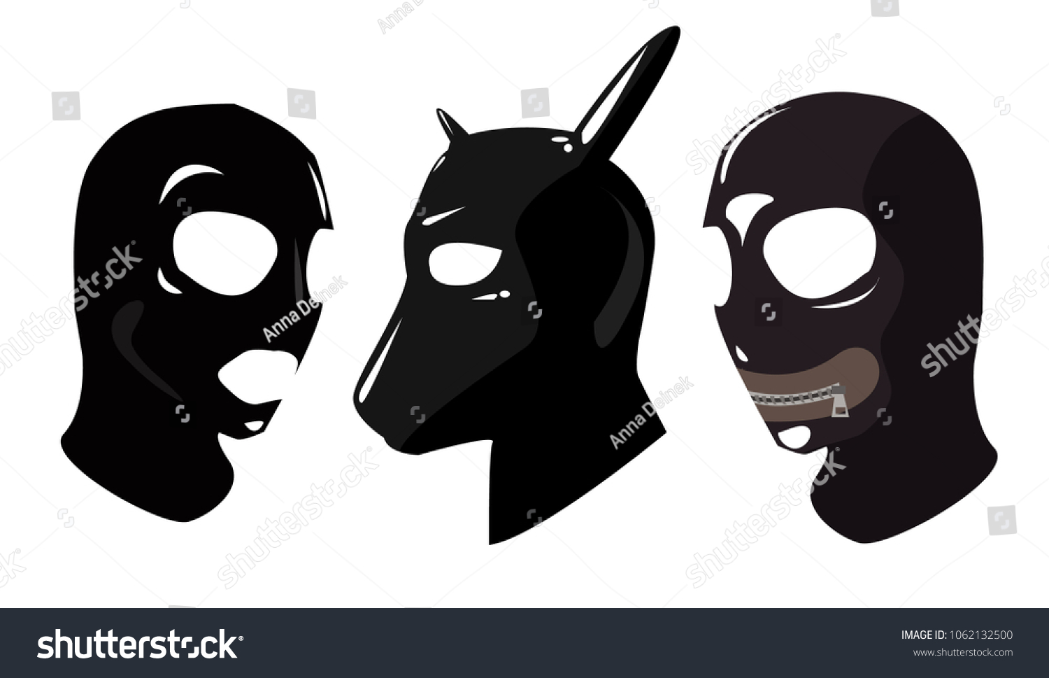 Sex toy black leather latex strap masks. BDSM. Mask with a closed mouth dog