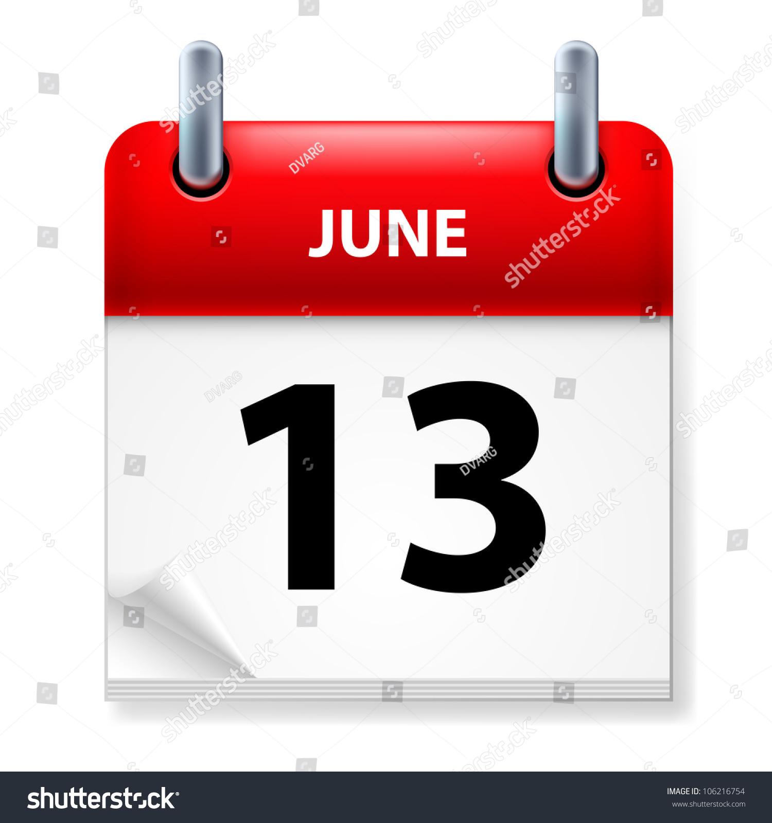 June Calendar Vector : Thirteenth june in calendar icon on white background stock