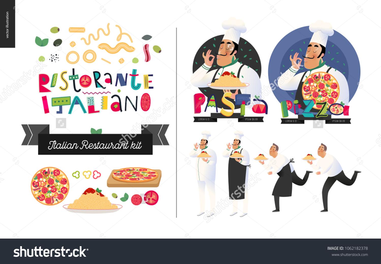 Vector De Stock Libre De Regalias Sobre Italian Restaurant Set Branding Logo Menu1062182378