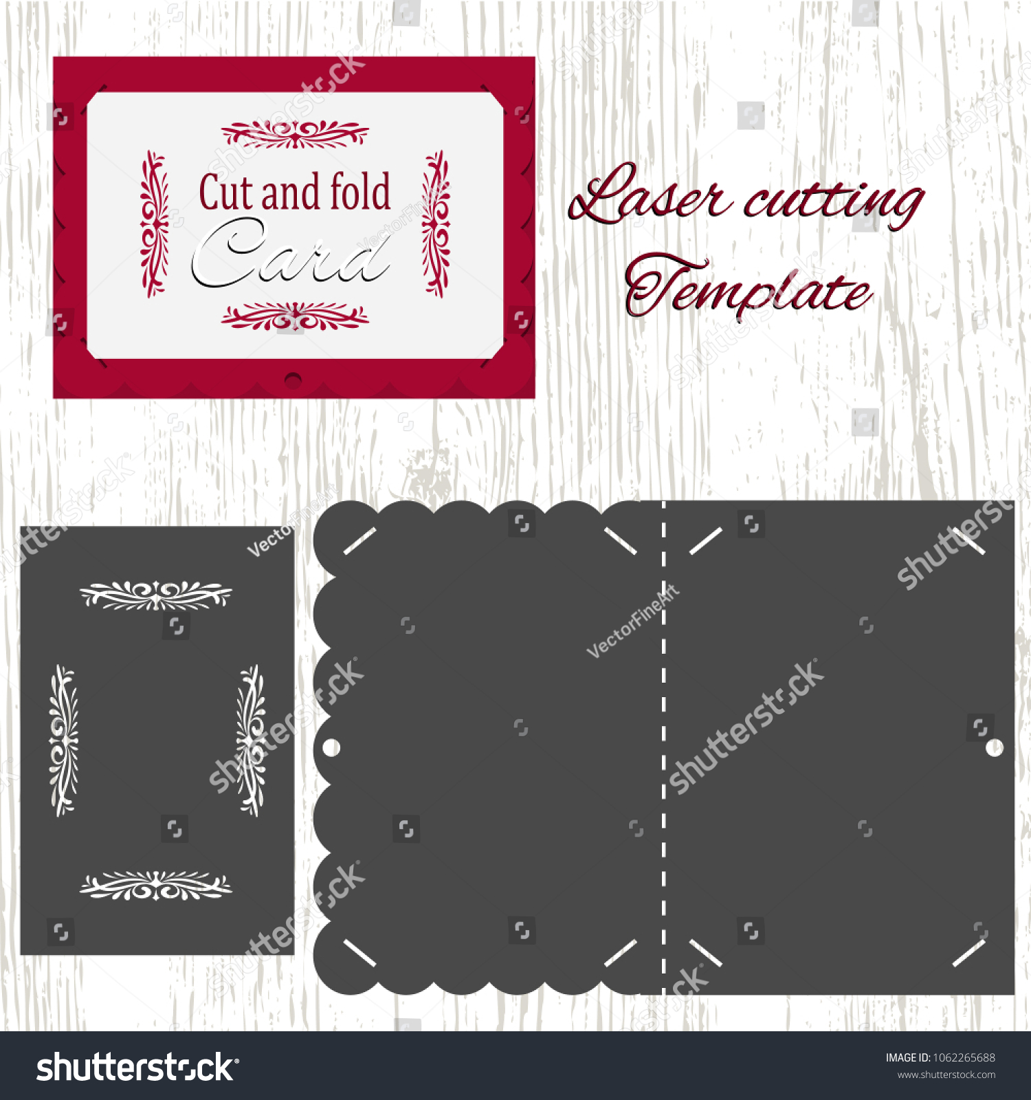 Cut Fold Vector Card Template Suitable Stock Vector 1062265688 ...