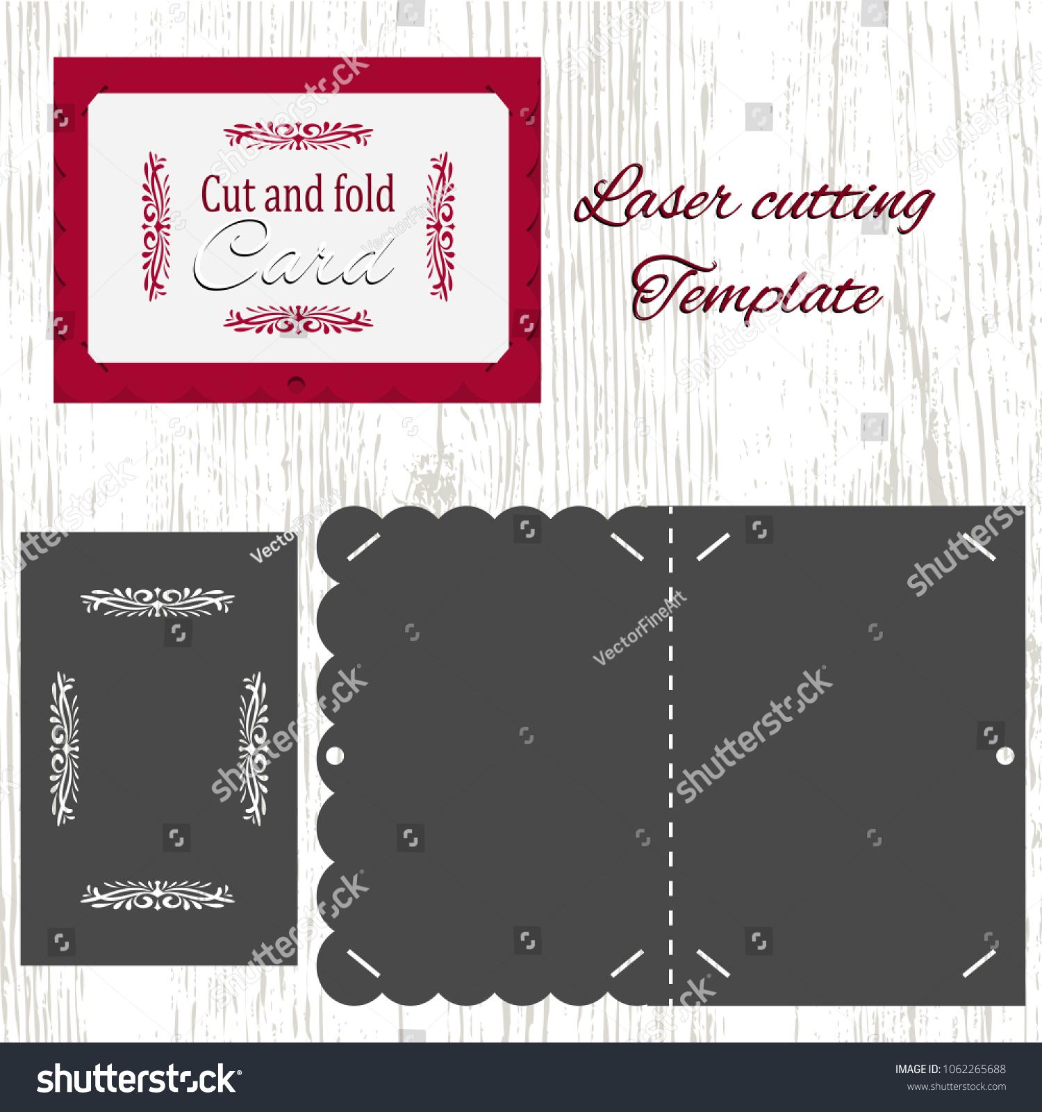 Cut Fold Vector Card Template Suitable Stock Vector 1062265688 ...