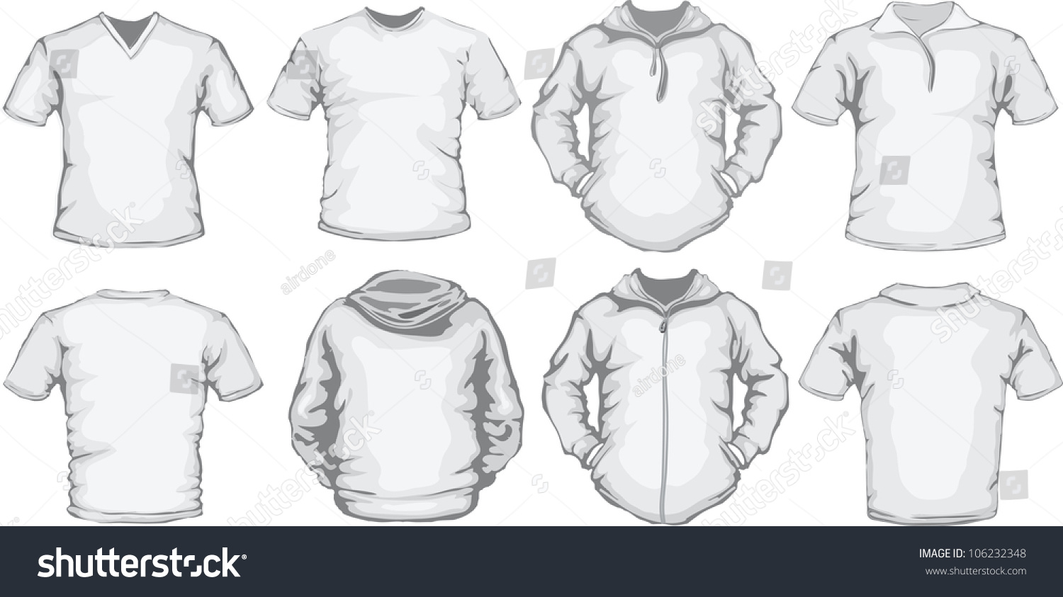 Shirt design vector pack - Vector Set Of Men S Shirts Template In White Front And Back Design Check Out