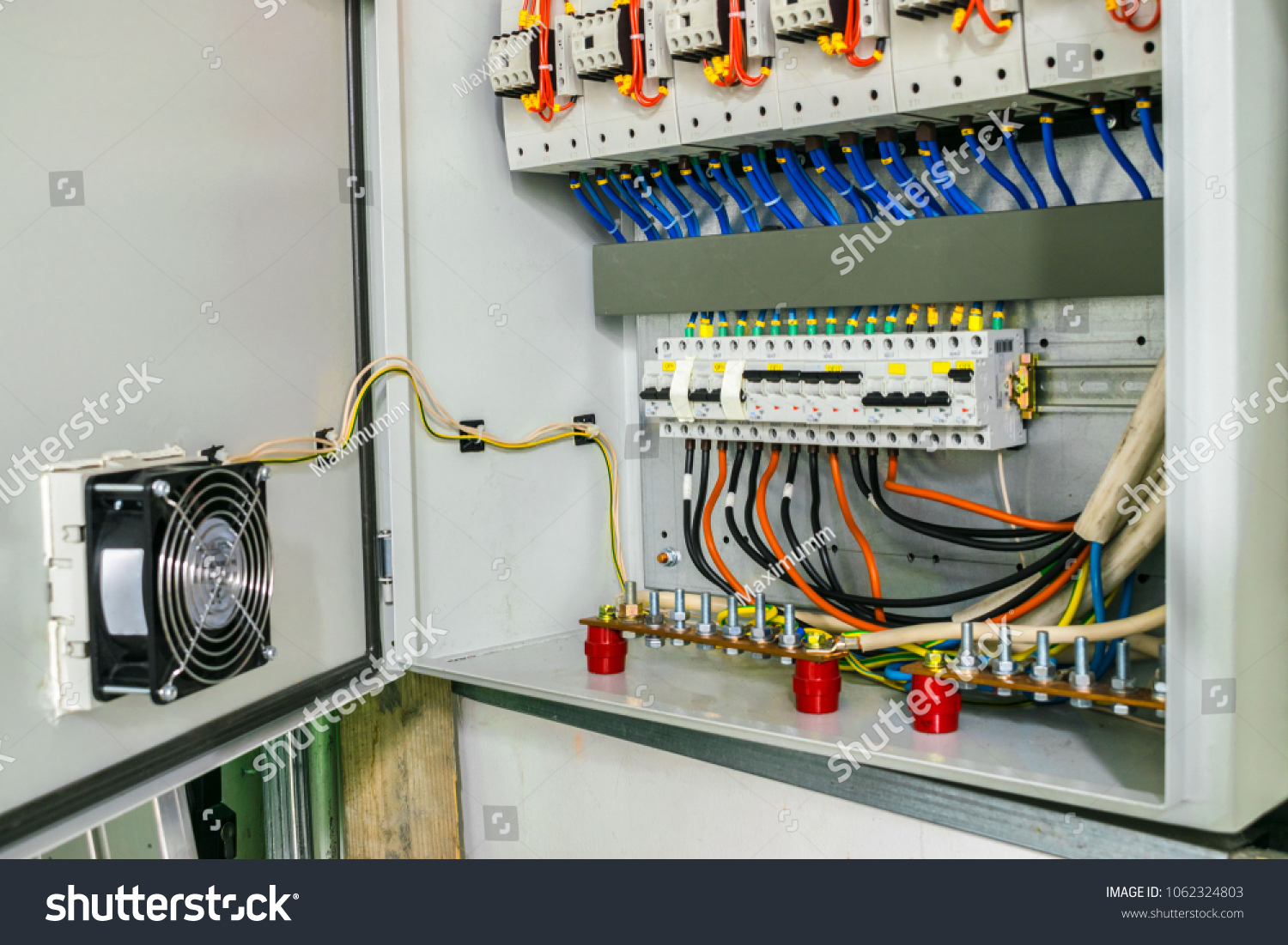 electric power circuit breakers fuse box stock photo (edit nowelectric power circuit breakers are in the fuse box the wires with the terminals are