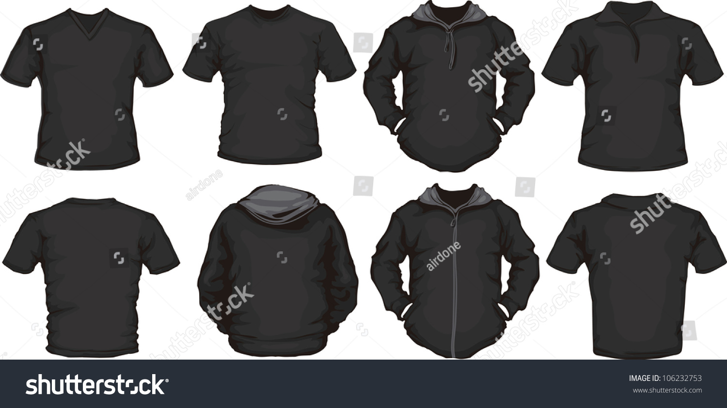 Vector Set Mens Shirts Template Black Stock Vector Royalty Free