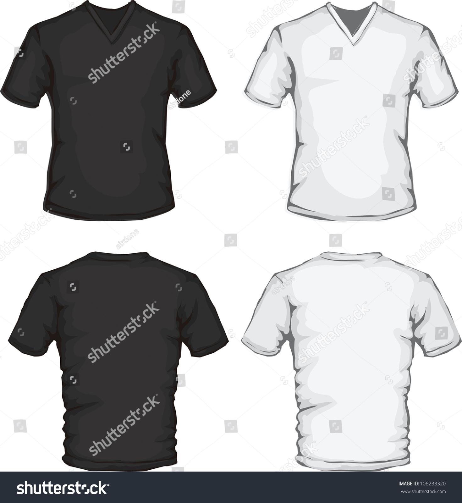 Design shirt v neck - Vector Set Of Men S V Neck Shirt In Black And White Front And Back Design