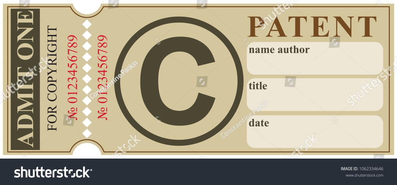Ticket Registration Copyright Patent Copyright Symbol Stock Vector