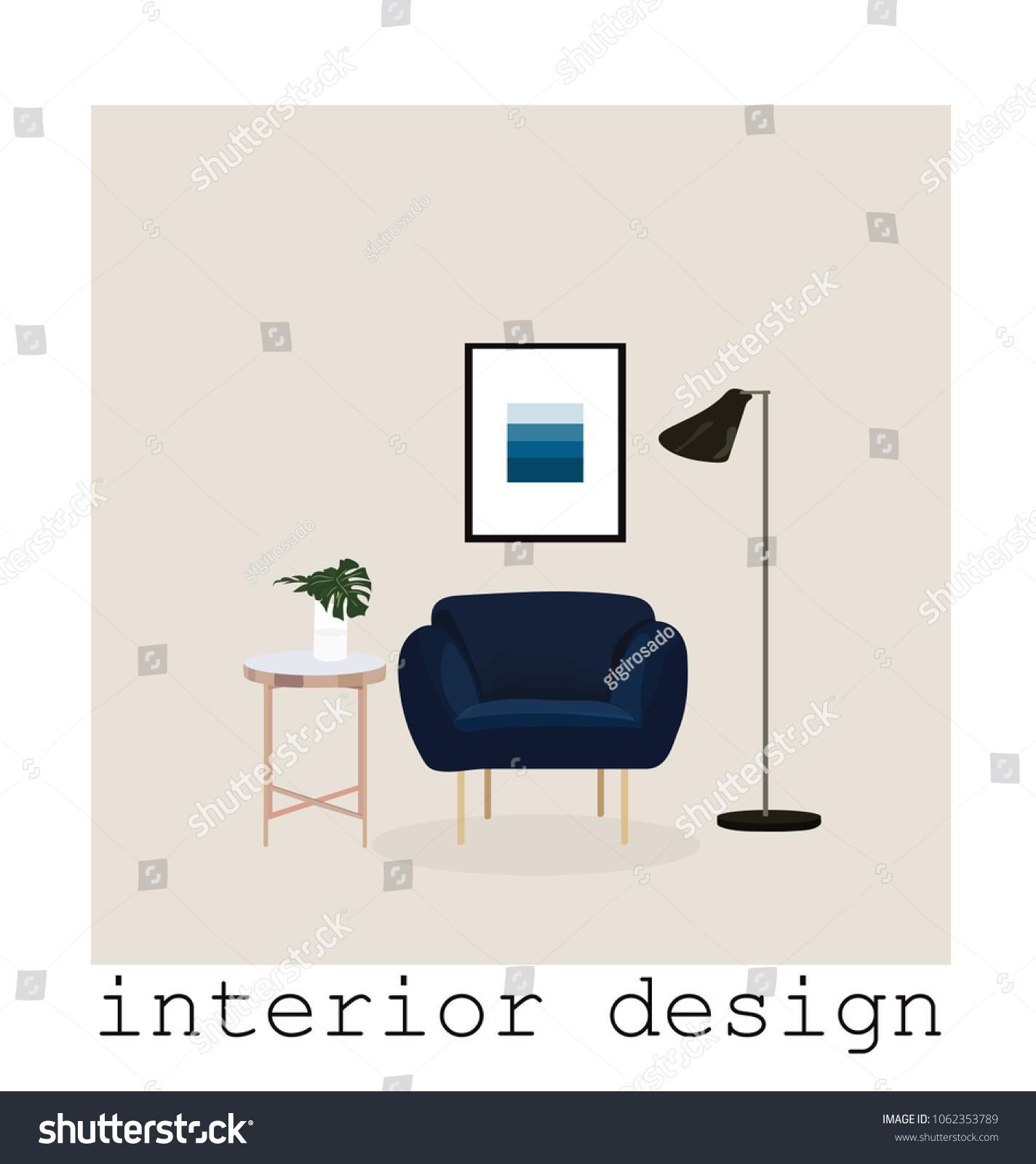 Mid Century Modern Furniture Set Collectionvector Stock