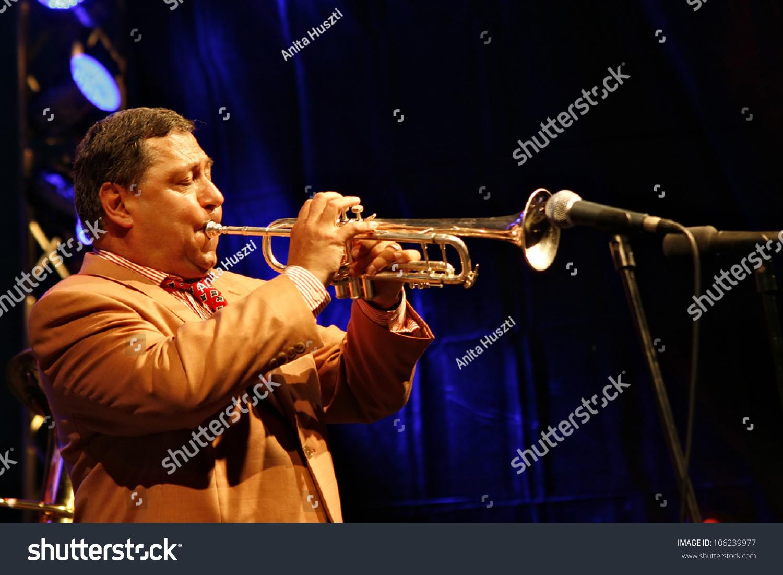 Bank Hungary  city photos : BANK, HUNGARY JUNE 27: Herbert Christ plays at trumpet during the ...